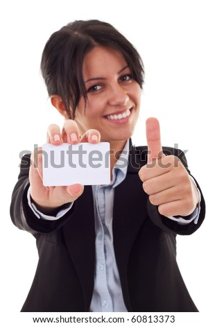Female holding blank business card, making ok sign , focus on hands and card - stock photo
