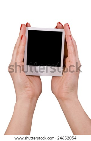 female holding blank photo, detailed clipping path