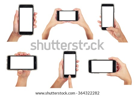 Female holding smart phone 6 various photos collection, use clipping path - stock photo