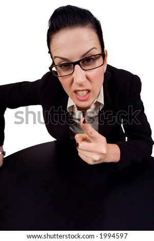 Female holding up finger arguing - stock photo