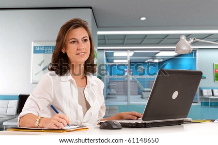 Female hospital administrative in a modern medical center - stock photo