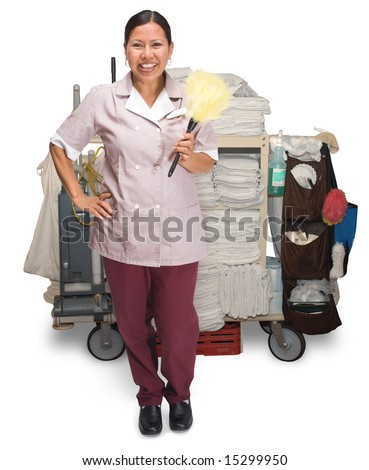 Female hotel maid with housekeeping cart isolated on a white background - stock photo