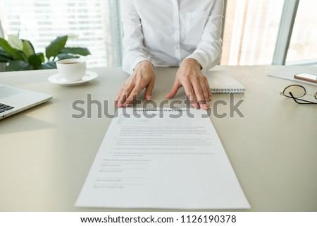 Female Hr Employer Offering Employment Agreement Stock Photo