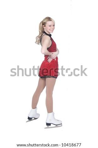 female ice skater isolated - stock photo