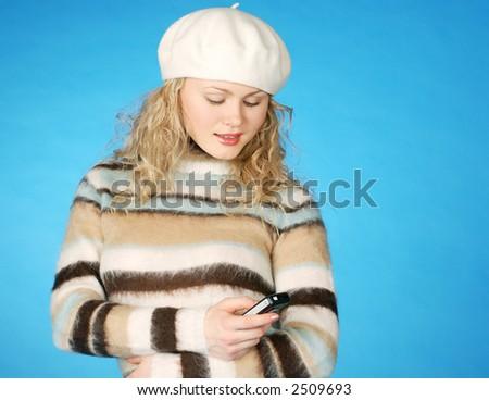 female in take & phone - stock photo