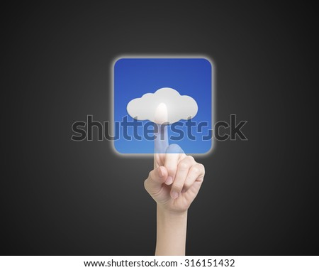 Female index finger touching cloud icon button, on black background.