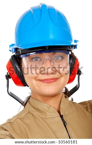 female industrial worker smiling portrait - isolated over a white background - stock photo