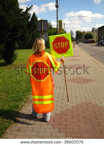 Female instead of street lights - stock photo