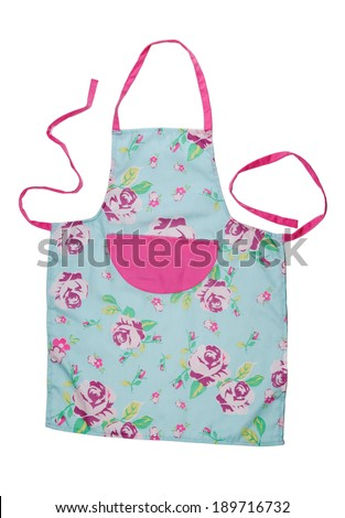 Female kitchen apron with floral pattern - stock photo