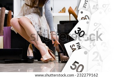 Female legs and variety of shoes in the footwear shop. Black Friday sale