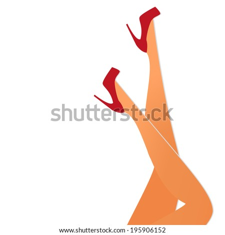 Female legs wearing red high-heeled shoes - illustration on white background (vertical position). - stock photo