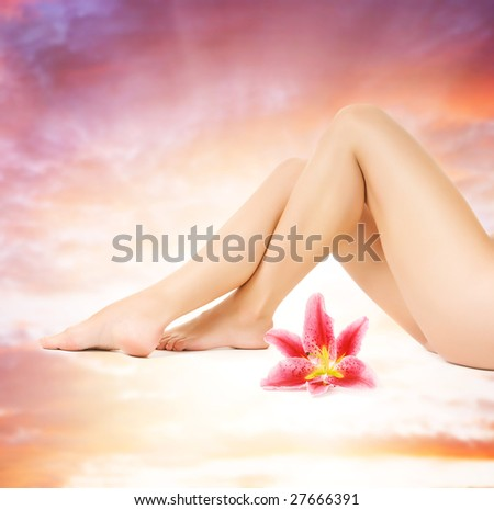 Female legs with pink lily over heaven background - stock photo