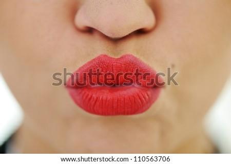 Female lips closeup - stock photo