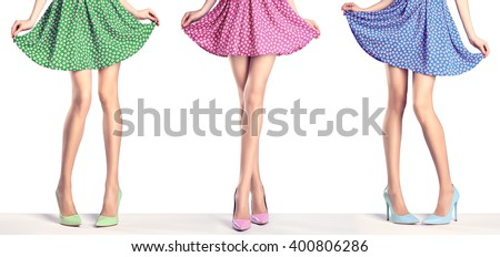 Female long legs in fashion skirt and high heels. Female sexy legs, stylish purple skirt and summer glamour heels on legs. Unusual creative elegant sexy girl pose. Fashion trendy female outfit, shoes - stock photo