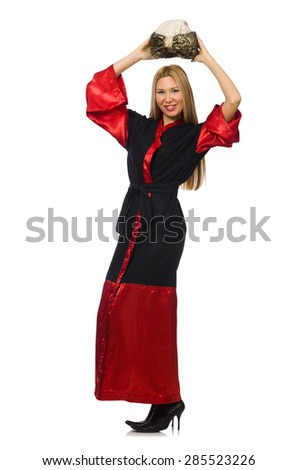 Female magician isolated on white - stock photo