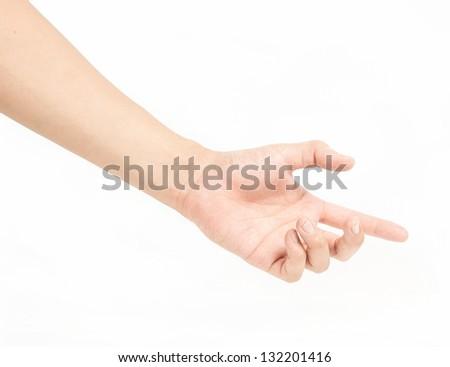 female man hand holding isolated on white - stock photo