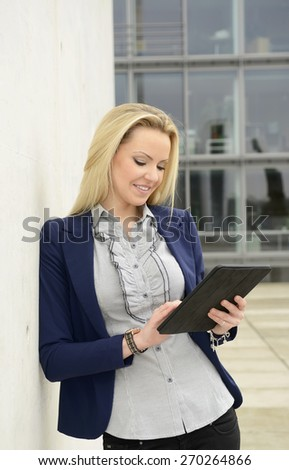 Female manager with tablet computer