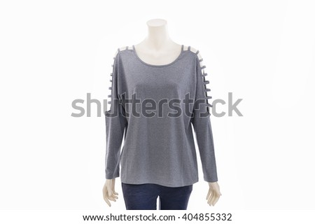 female mannequin female gray dress â??white background