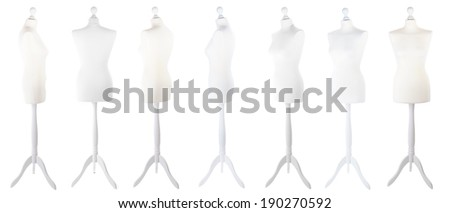 Female mannequin from different angles isolated on white - stock photo