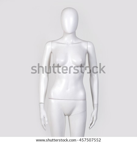 Female mannequin isolated against white background.