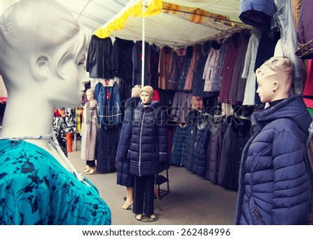 Female mannequins in the clothing market - stock photo
