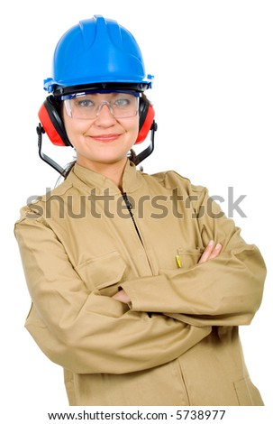 female manual worker smiling - isolated over a white background - stock photo