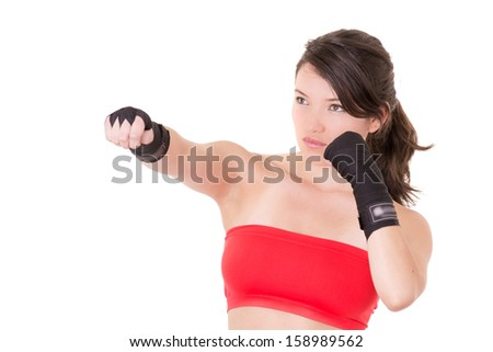 female MMA fighter training white background