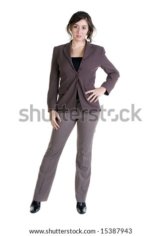 Female model in Business Casual clothes over white background