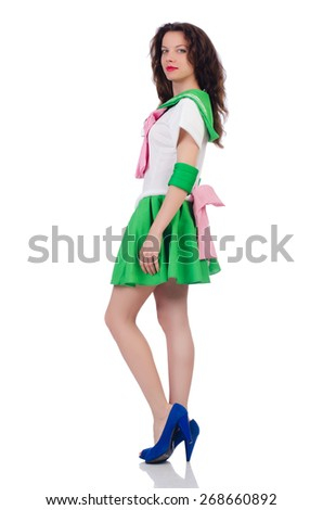 Female model in cosplay costume isolated on white - stock photo