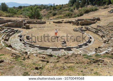 Female Model In The Center Of Ancient Greek Theater Stratos City State