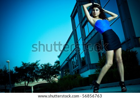 Female model posing for a shoot - stock photo