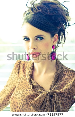Female modeling Clothing for a new Campaign soft light... - stock photo