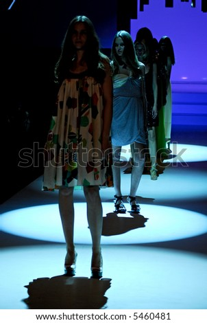 Female models at fashion show - stock photo