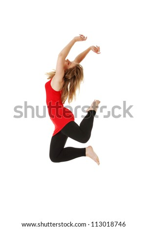 Female modern dancer, isolated on white - stock photo
