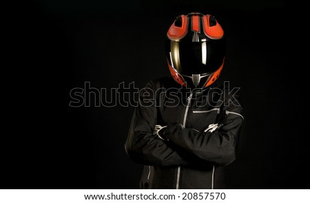 Female Motorcycle driver with Helmet - stock photo