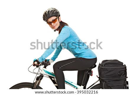 Female mtb cyclist  with saddlebag, looking at the camera and smiling, isolated on white background. Studio shot.