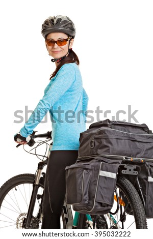 Female mtb cyclist  with saddlebag, looking at the camera and smiling, isolated on white background. Studio shot. Rear view.