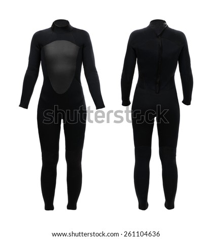 Female neoprene suit front and back - stock photo