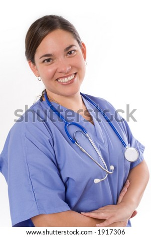 Female nurse isolated on white background. - stock photo