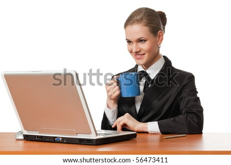 female office worker has coffee break isolated on white background