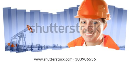 Female oil worker in orange uniform and helmet on of collage background the pump jack. - stock photo