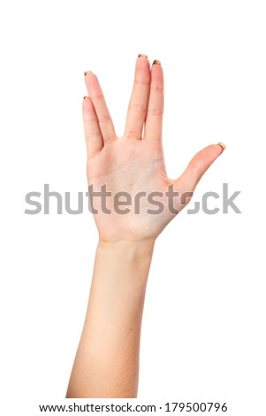 Female palm hand vulcan gesture, isolated on a white background