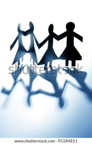 Female paper dolls holding hands