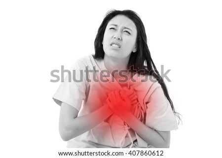 female patient with heart attack - stock photo