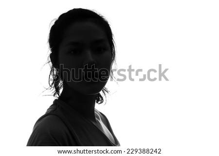 Female person silhouette  - stock photo