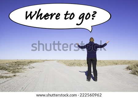 Female person standing at a parting of the ways in the desert. Not knowing where to go she is lifting her arms. In a speech balloon is written the question: Where to go?   - stock photo