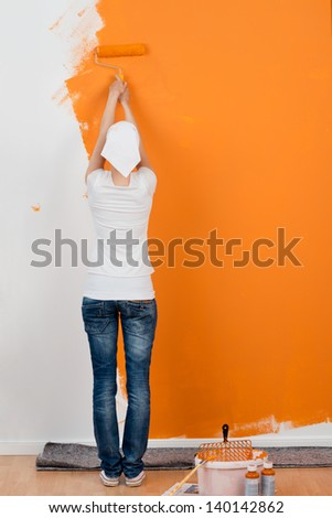 female pharmacist reading on a paper with copy space - stock photo