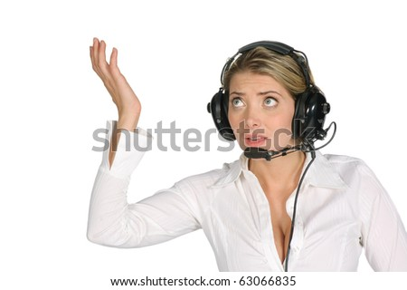 female pilot or air traffic controller screaming over a white background - stock photo