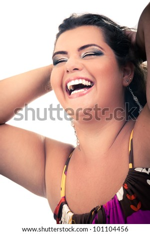 Female Plus size model posing in the studio, fashion face portrait, on white background. The woman is very happy. Good for concept of health, happiness, dieting, obesity, weight loss. - stock photo
