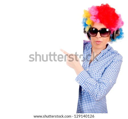Female pointing with her finger on blank space - stock photo